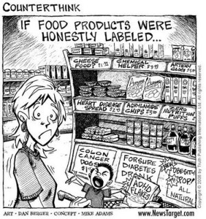 Food labeling cartoon